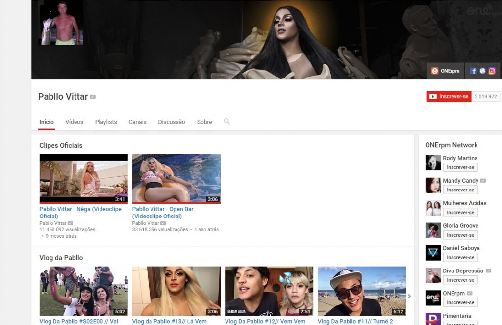 Canal do Youtube da Pabllo foi invadido